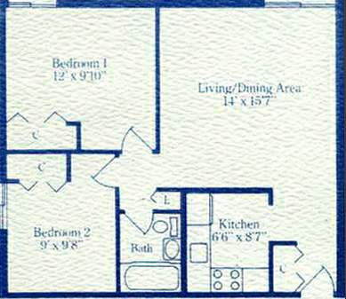 Two bedroom garden apartment